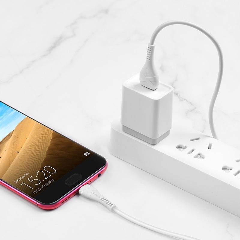 Cáp sạc nhanh chuẩn Micro USB Hoco, sạc nhanh 2.4A, cáp bọc dù dành cho Samsung, Huawei, Xiaomi, Oppo, Sony, X38 - Hàng chính hãng