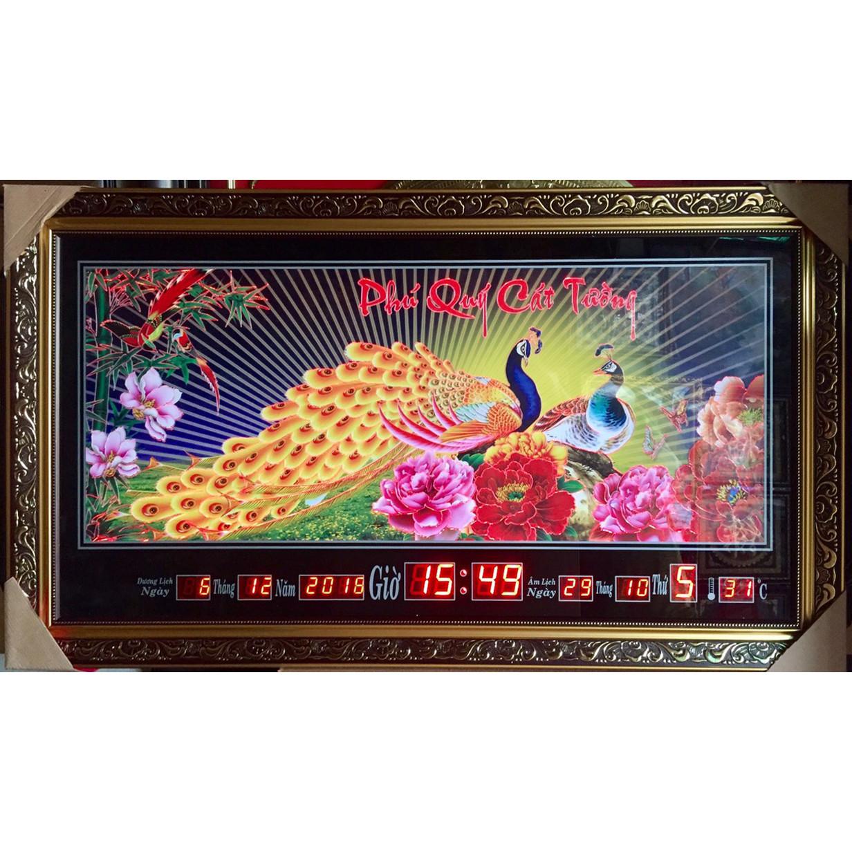 Đồng hồ tranh điêu khắc đèn led đổi màu Phú quý cát tường - K312