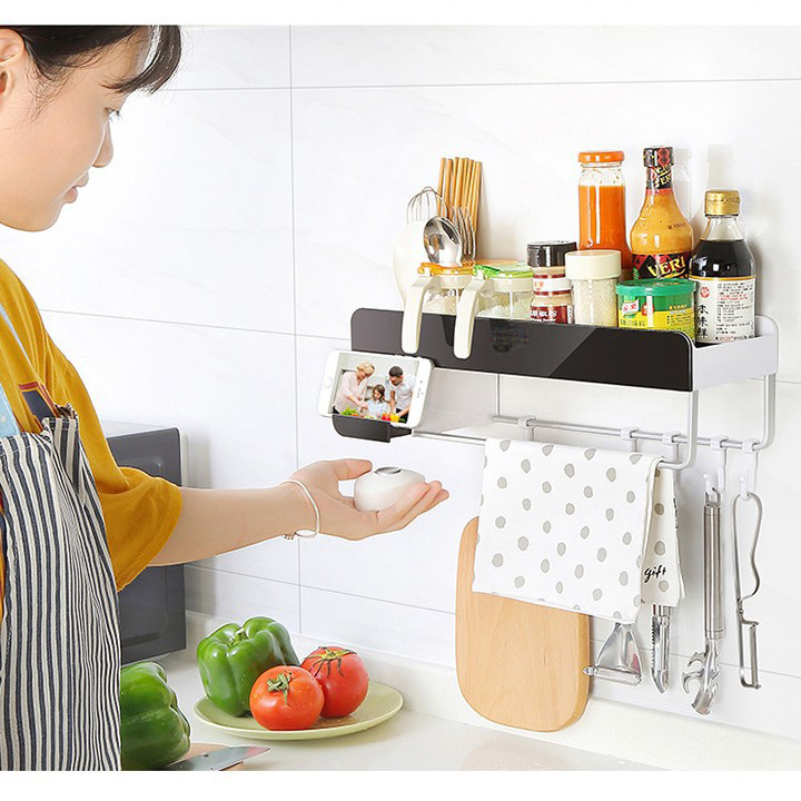 Kệ đựng gia vị - kệ nhà bếp treo không cần khoan
