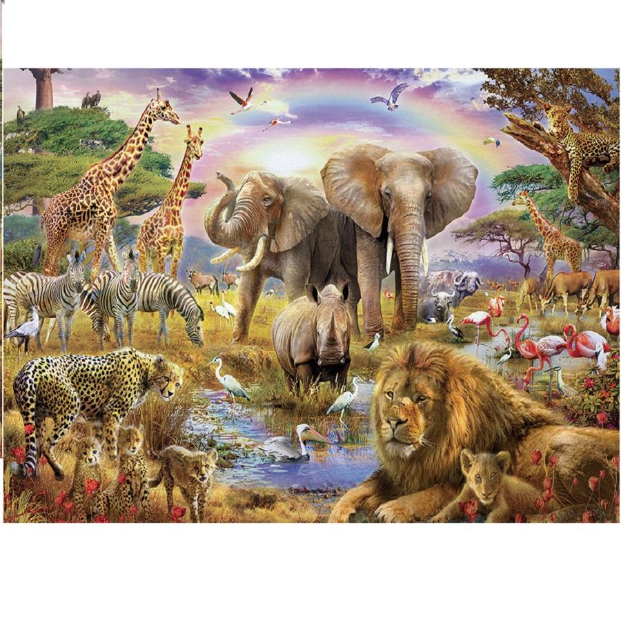 Tranh ghép hình 1000 mảnh bằng gỗ - muôn thú
