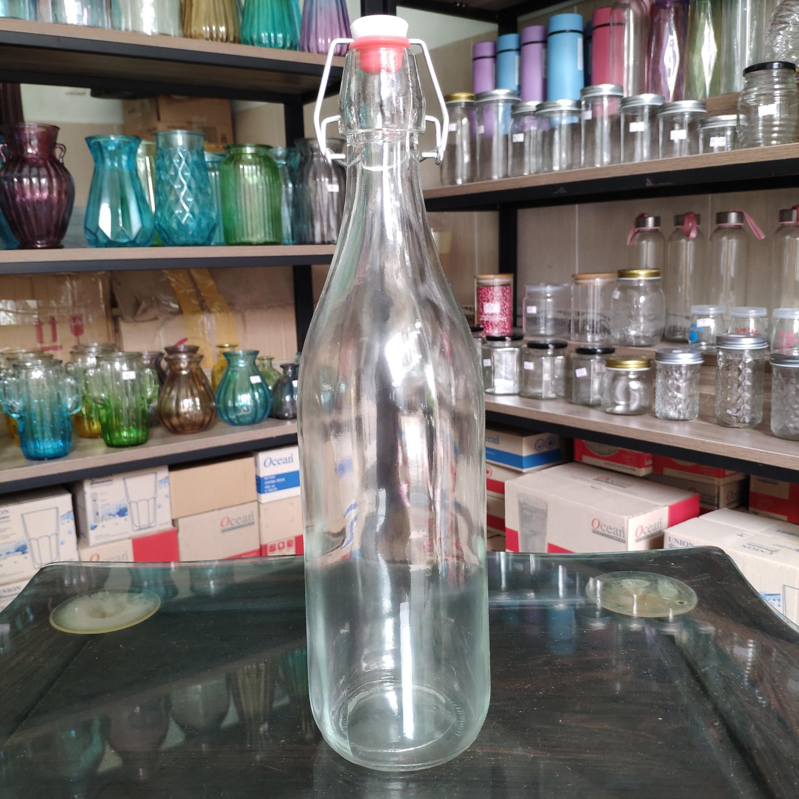 Chai thủy tinh gọng sắt nắp gài 1 lít, chai đựng nước