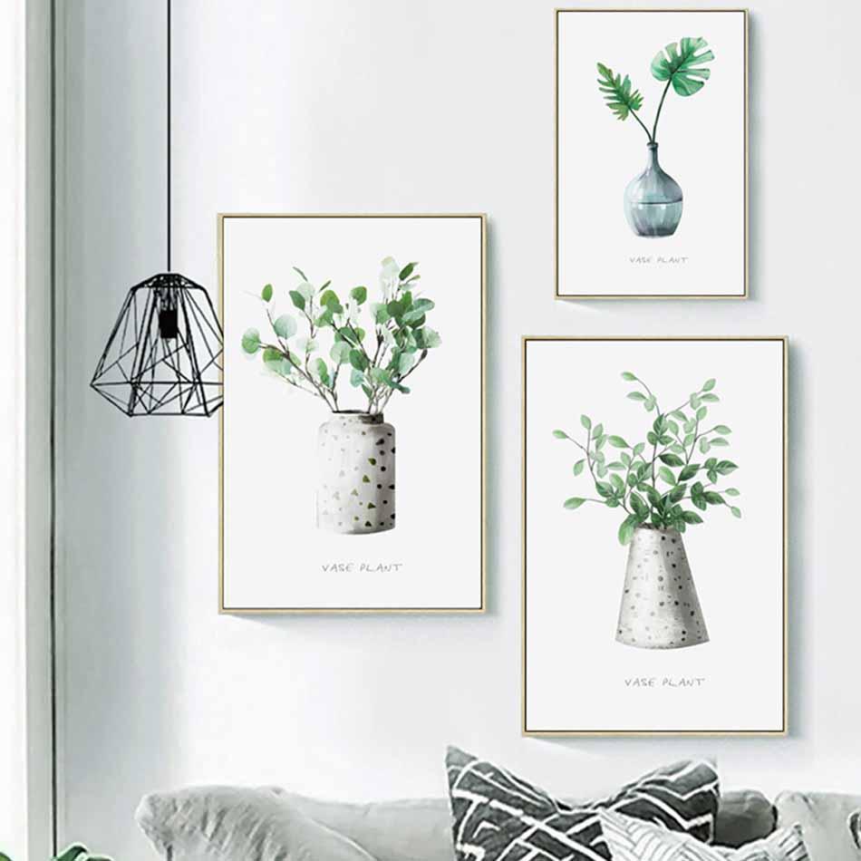 Bộ 3 tranh canvas treo tường Decor Hoa lá phong cách scandinavian - DC040