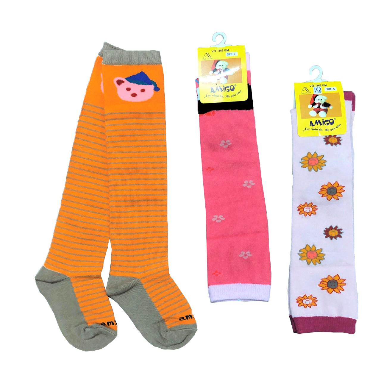 Combo 3 đôi tất cotton dài thu đông cho bé trai, bé gái, tất mềm, mịn co giãn tốt, hàng Việt Nam chất lượng