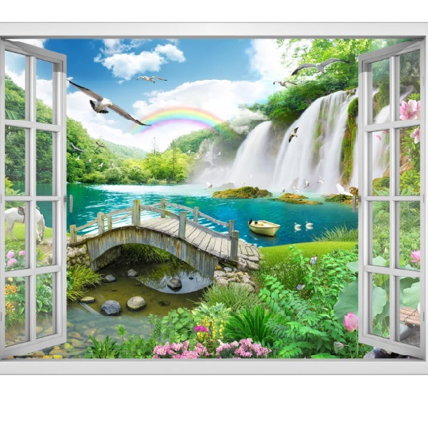 Tranh dán tường cửa sổ cảnh đẹp thiên nhiên VT0376