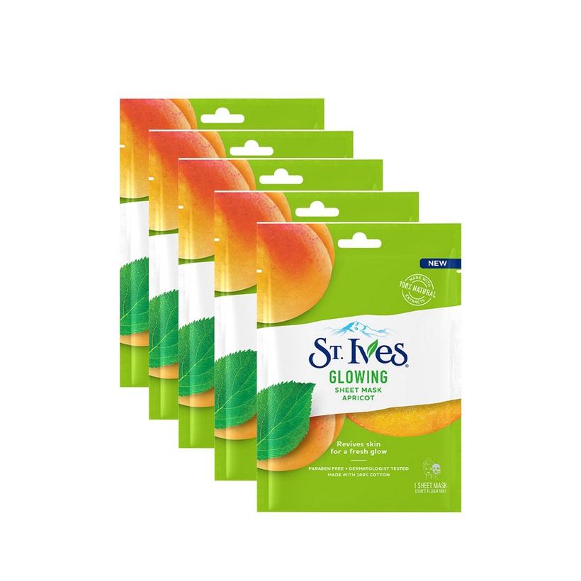 Combo 5 Mặt nạ giấy dưỡng da St.Ives chiết xuất Trái Mơ Glowing Apricot 23ml