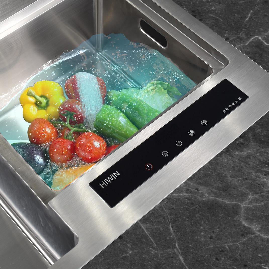 Chậu rửa bát khử khuẩn inox 304 mặt mờ cao cấp Hiwin KS-8045 450x800x220mm