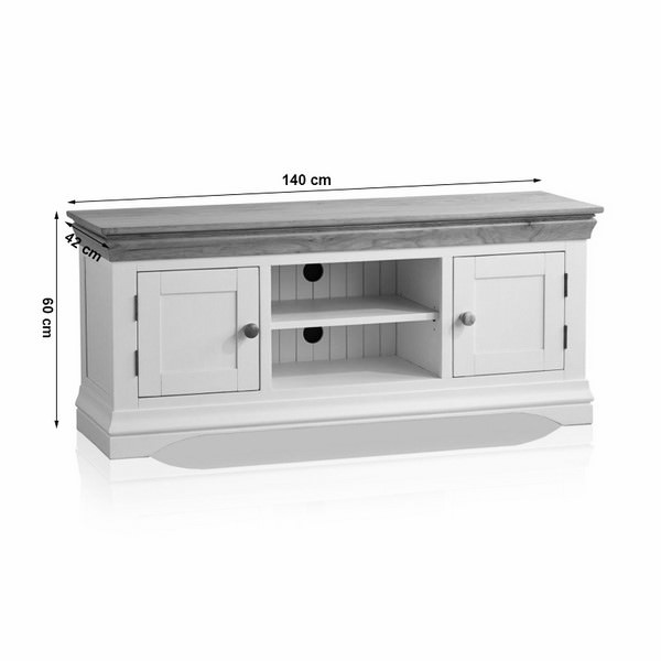 Tủ TV 2 Cánh Country Cottage Gỗ Sồi Ibie LSV2COUO - Trắng (140 x 42 cm)