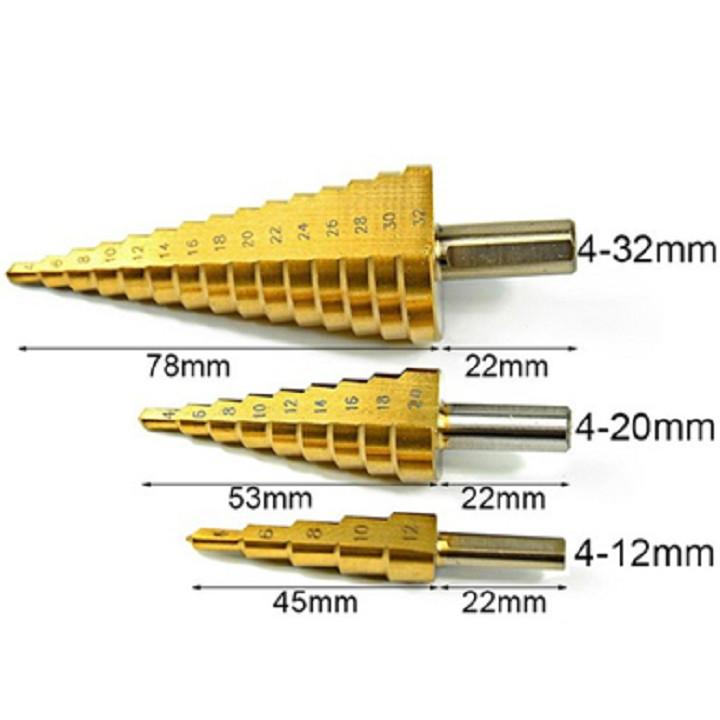 Bộ 3 mũi khoan bước, tháp phủ titanium 4-32mm khoét lỗ tròn chuyên khoan sắt, gỗ, tôn nhôm