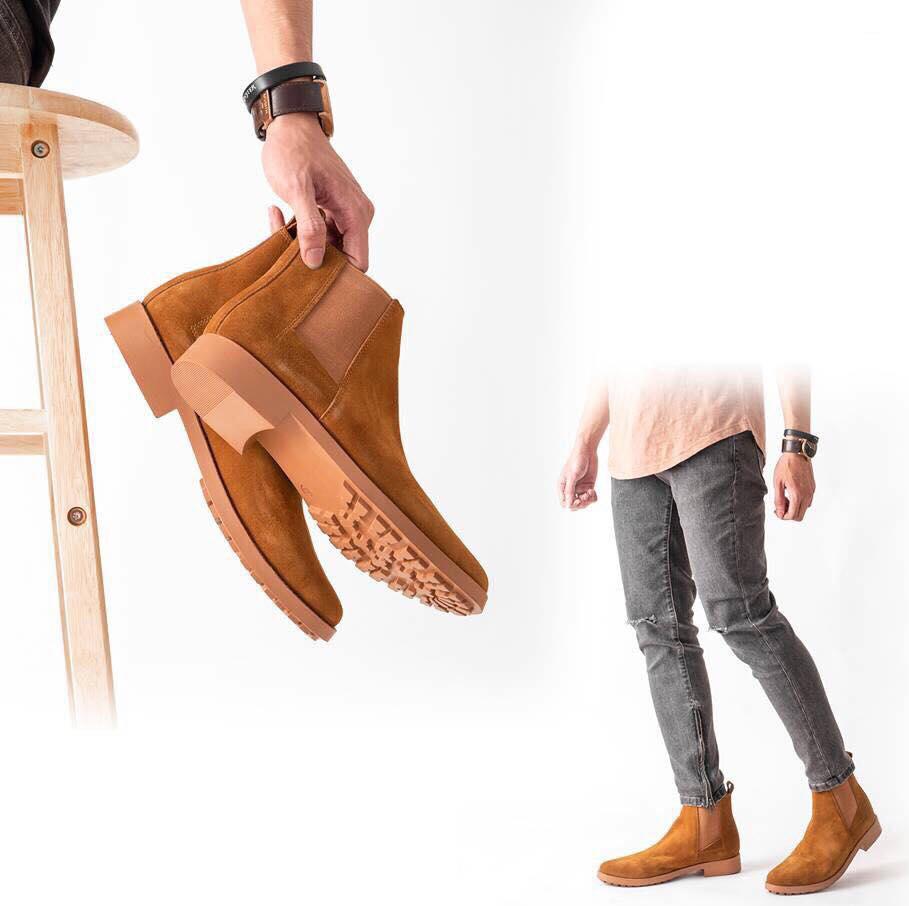 Giày Boot Nam Cao Cổ Da Lộn Cao Cấp Nhận Khẩu Châu Âu Chelsea Boots Routine