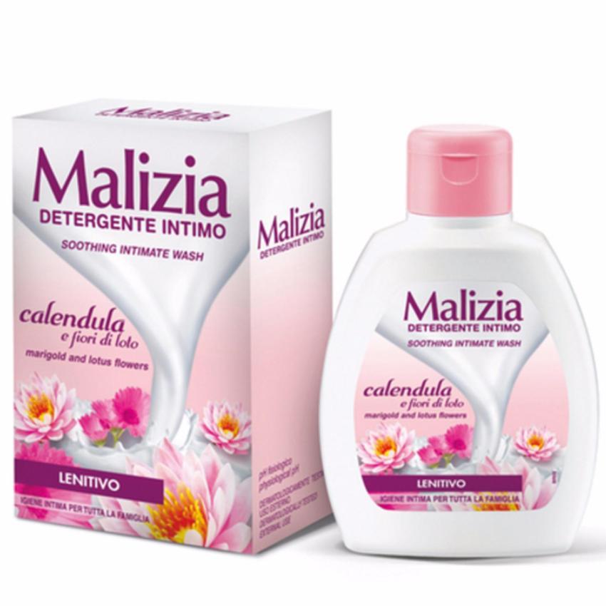 Dung dịch vệ sinh kim chân thảo và lô hội Malizia Intimate Wash Lotus Flowers 200ml tặng kèm móc khóa