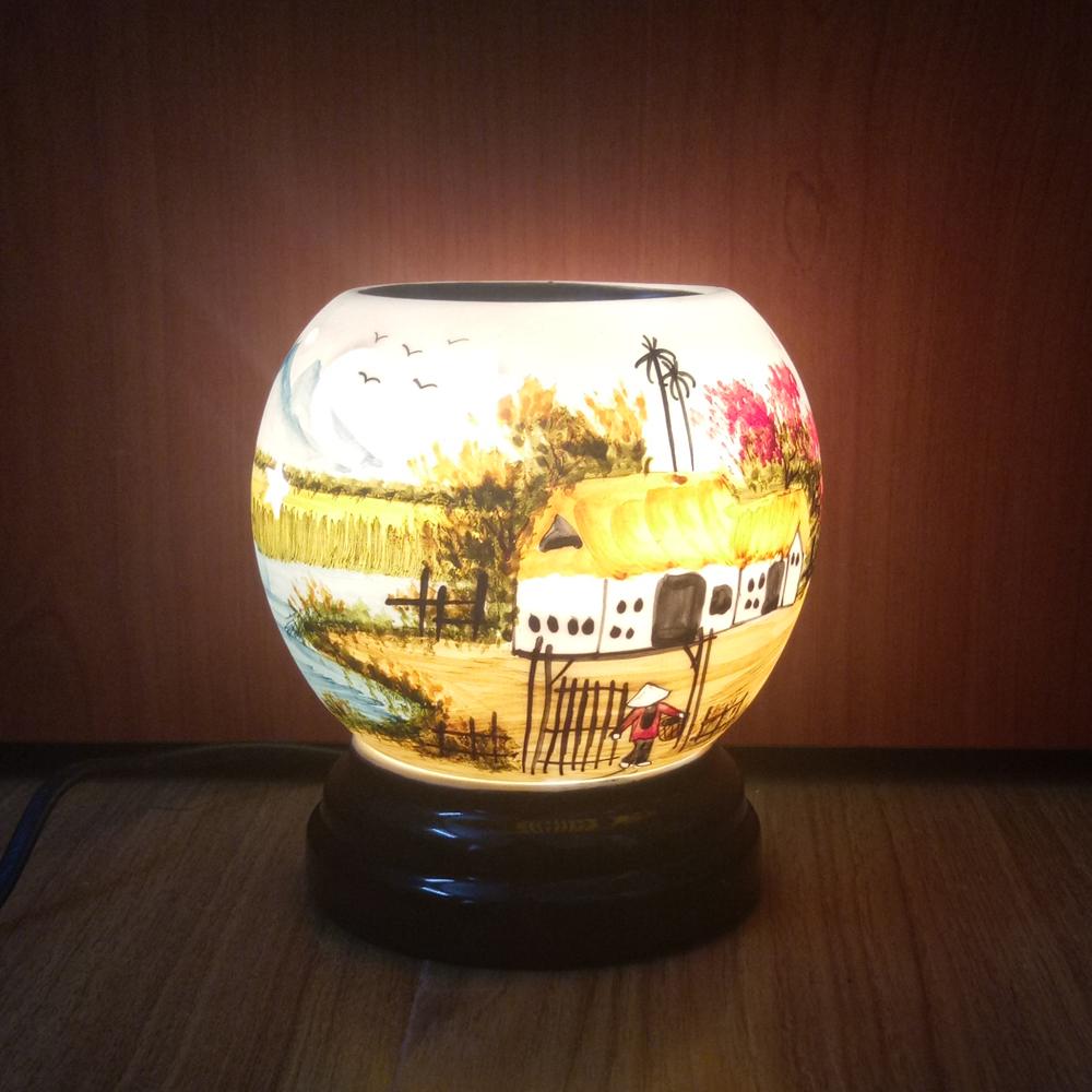 Đèn xông tinh dầu gốm sứ bát tràng họa tiết phong cảnh size M(Random)