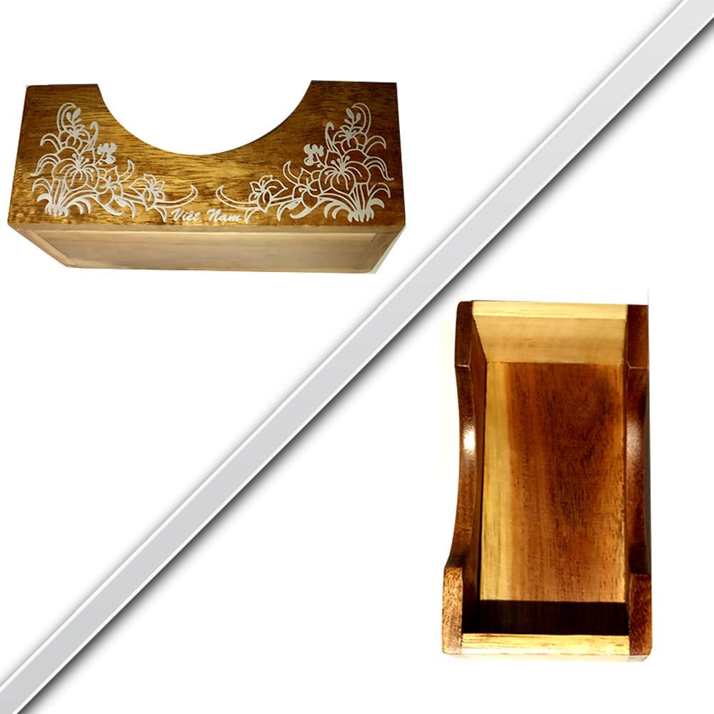 Bộ lót ly hình Hoa mai Tết bằng gỗ tự nhiên, hàng thủ công cao cấp và khắc Hoa văn đẹp sang trọng