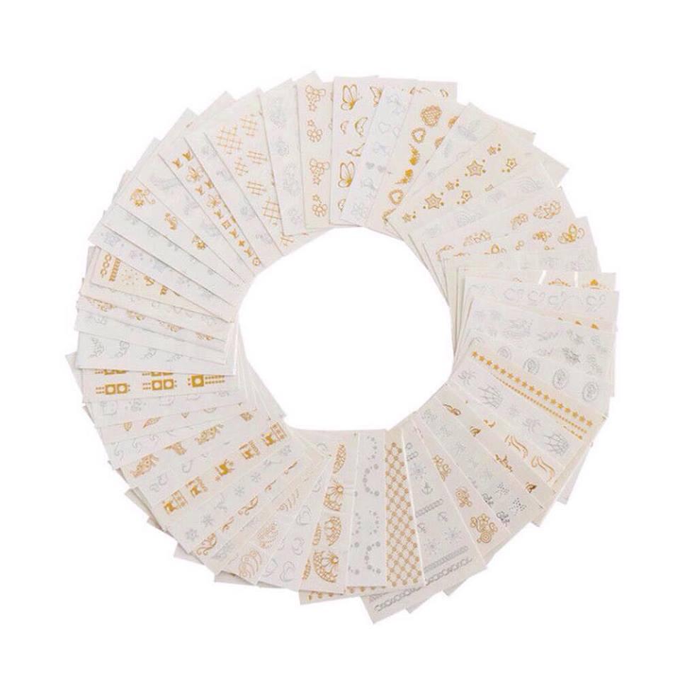 Combo 10 tấm sticker dán móng ánh kim sang trọng Aliera -7015