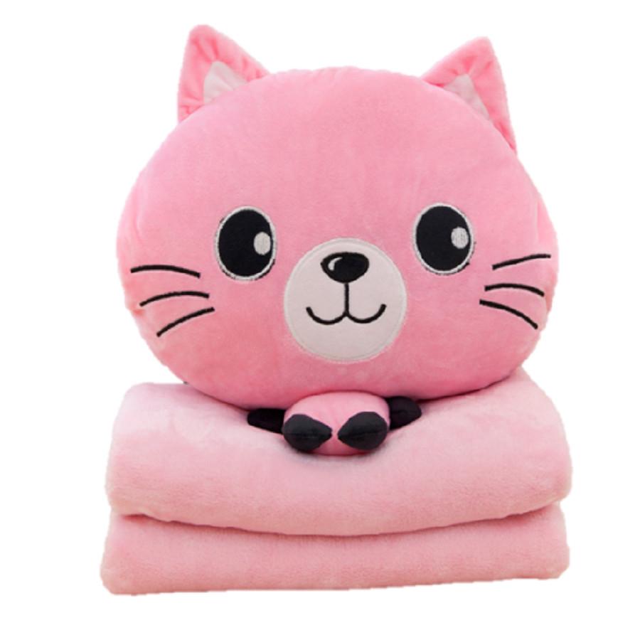 Bộ chăn gối 3 trong 1 chú mèo dễ thương (Hồng)