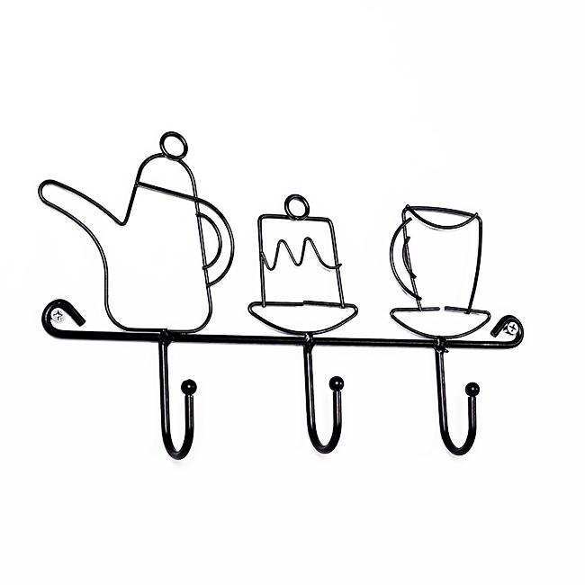 Giá treo đồ kim loại họa tiết ấm trà (kèm đinh treo)