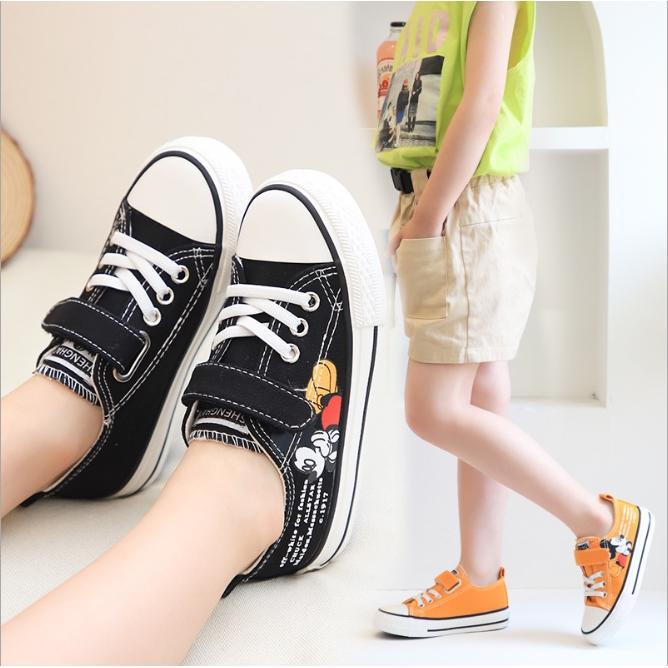 Giày trẻ em quai dán rẻ đẹp  Giày Đế Bệt Cao Cấp Hình MicKey Cho Bé