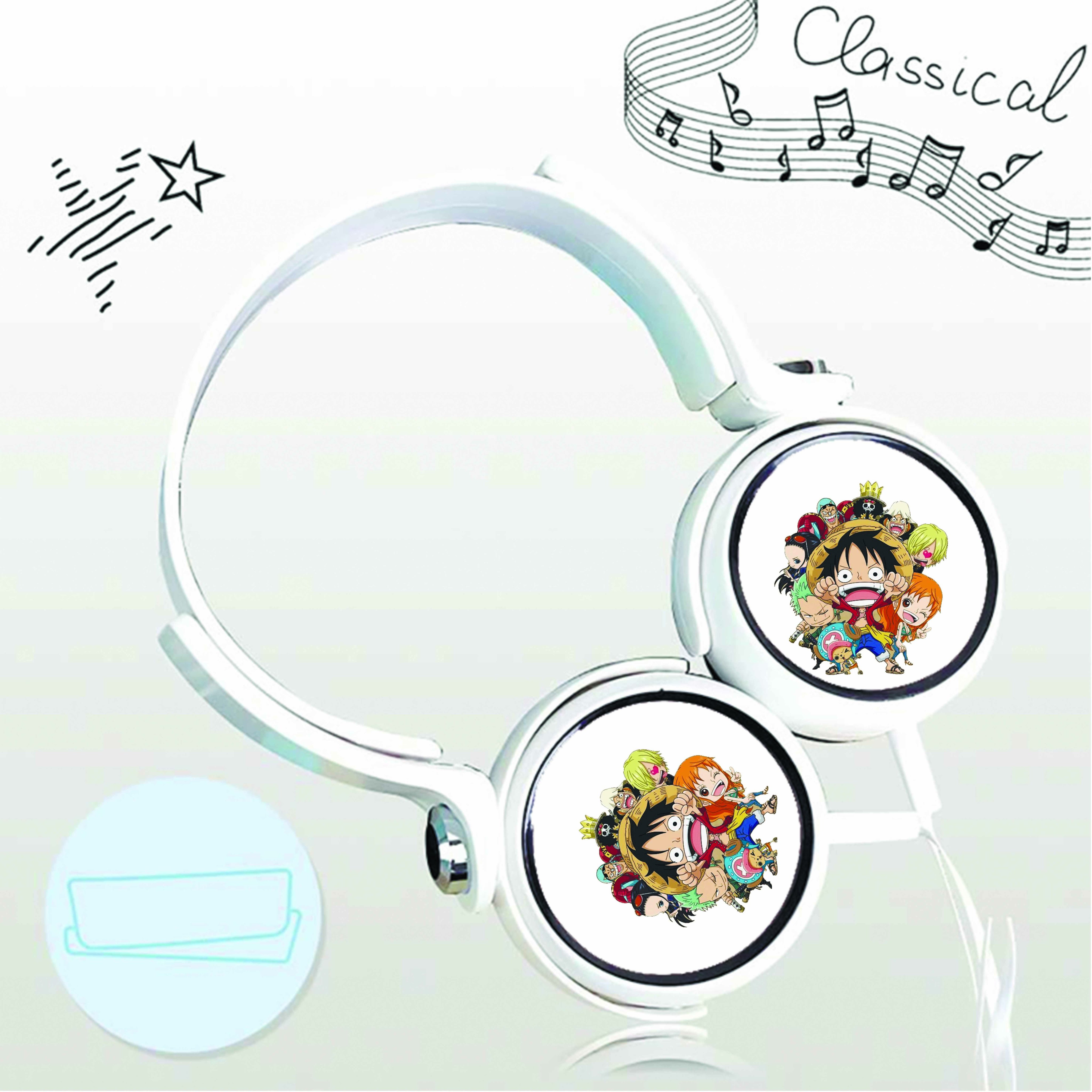 Tai nghe chụp in hình Đảo Hải Tặc - One Piece anime chibi cắm dây có mic