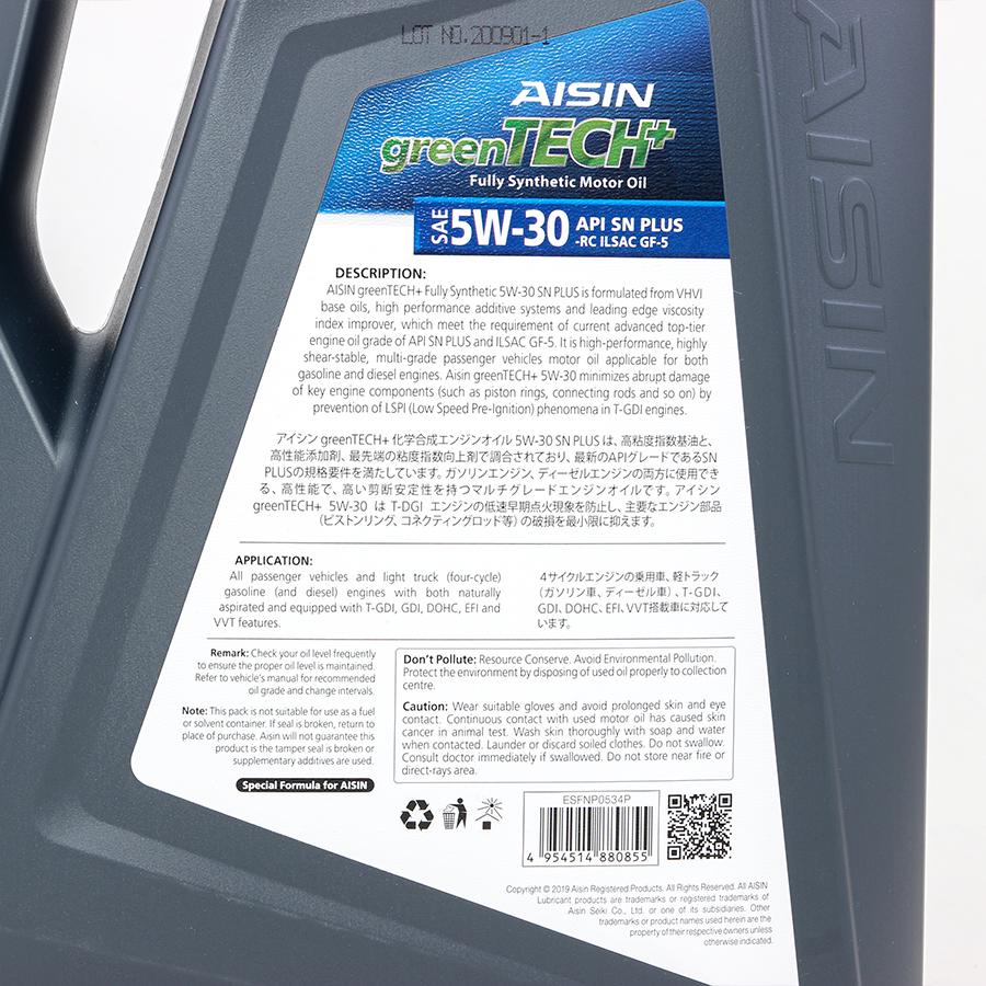 Nhớt động cơ AISIN ESFNP0534P 5W-30 SN PLUS greenTECH+ Fully Synthetic 4L