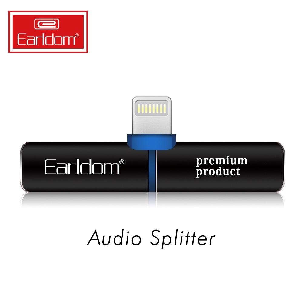 Jack Chuyển Lightning 2 in1 Earldom OT35 giúp cho bạn vừa sạc vừa nghe nhạc - Hàng nhập khẩu (TẶNG KÈM ĐẦU ĐỌC THẺ NHỚ)