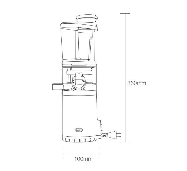 Máy Ép Chậm trái cây mini BUD BJ08 cơ chế hai kênh, tách rời bã cặn riêng biệt, tốc độ 60 vòng/phút