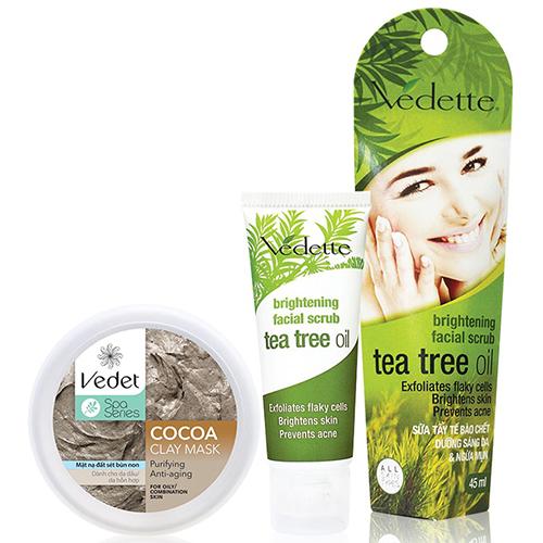 Bộ Đôi Sạch Sâu Sáng Da Vedette (Đất Sét Cocoa 145g, Tẩy Tế Bào Chết Tràm Trà 45ml)