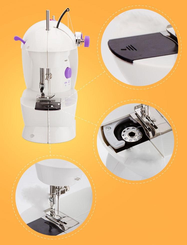 Máy may mini gia đình để bàn tích hợp 2 chế độ may, có đèn led, dùng pin và nguồn điện-màu bạc