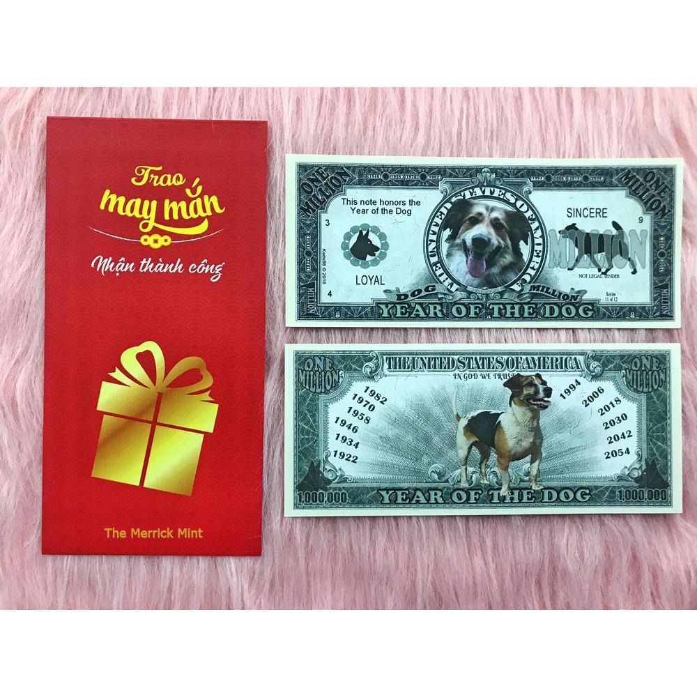 Tờ tiền siêu khủng 1 triệu đô lưu niệm hình con chó , quà tặng phong thủy, dùng để sưu tầm , quà tặng lì xì cho người tuổi Tuất - tặng kèm bao lì xì đỏ - The Merrick Mint