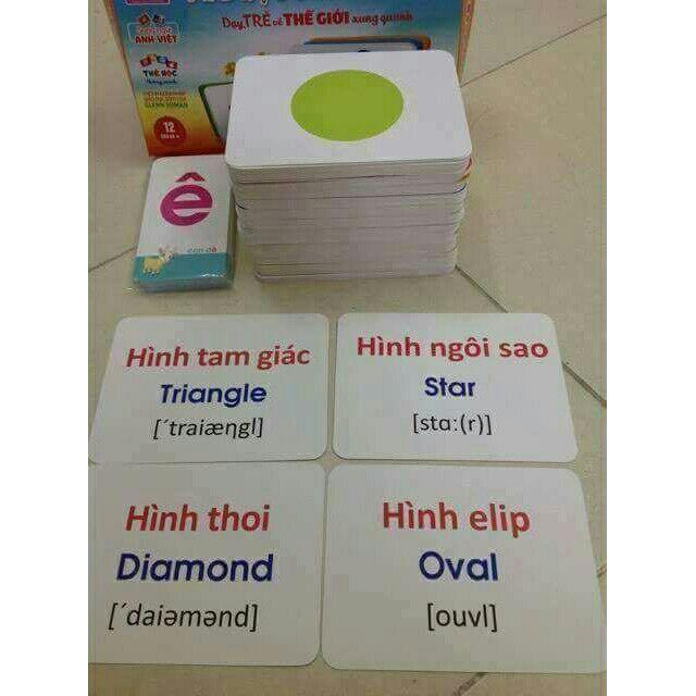 Bộ thẻ học song ngữ Anh - Việt cho bé với 16 chủ đề 415 thẻ loại to