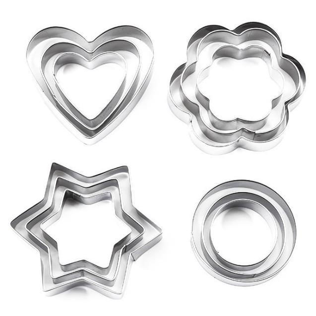 Bộ 12 khuôn cắt tạo hình làm bánh - Khuôn inox hình tim, hoa mai, ngôi sao và hình tròn