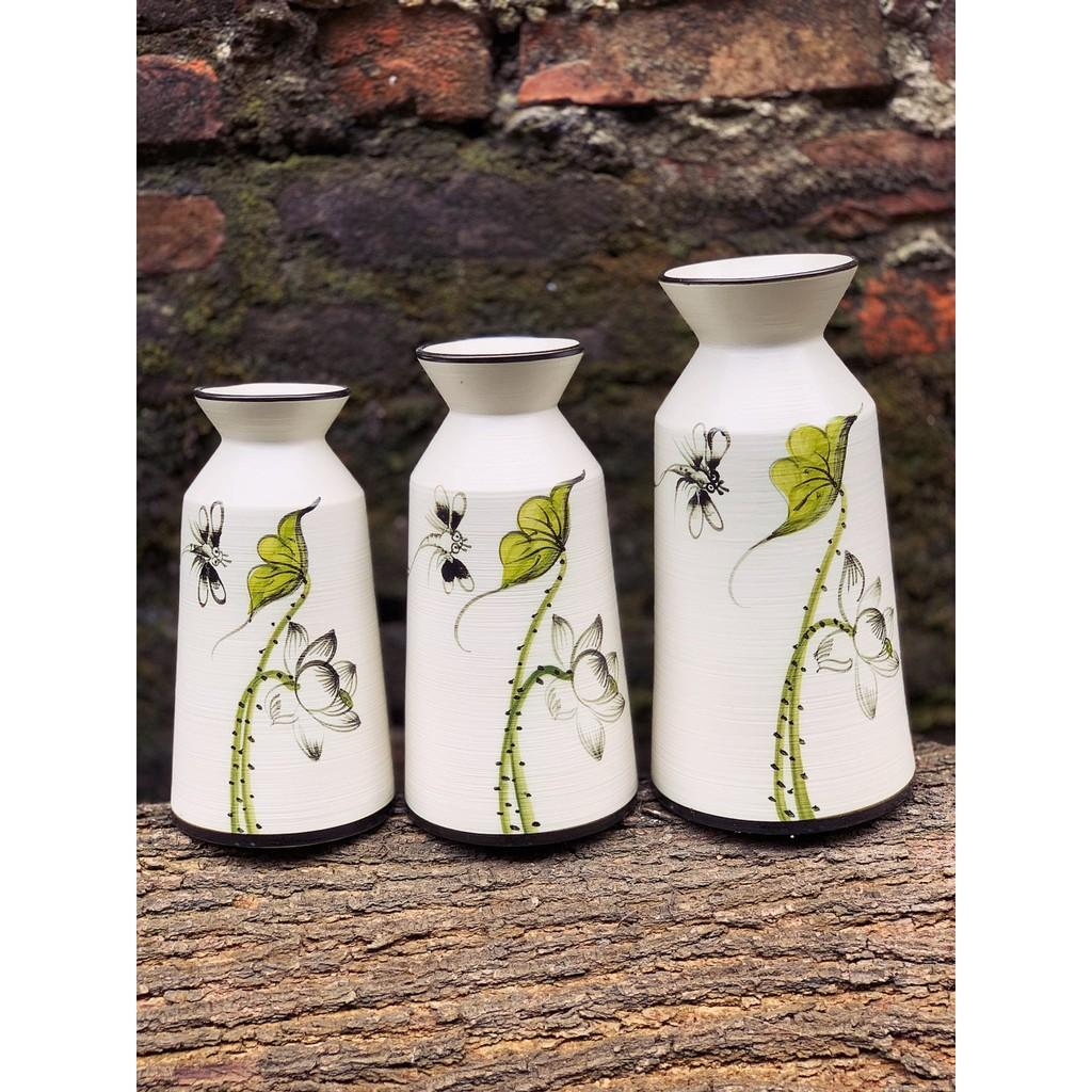 Bình lọ hoa vẽ tay gốm sứ cao cấp Bát Tràng dùng trang trí, biếu tặng (nhiều mẫu)