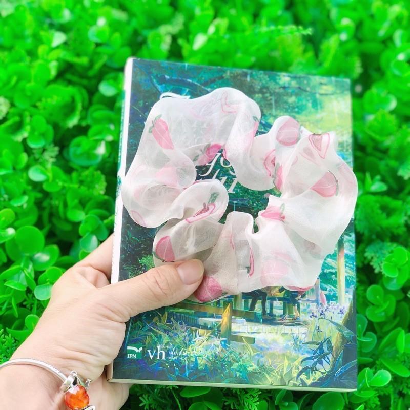 Cột tóc vải scrunchies quả đào màu hồng