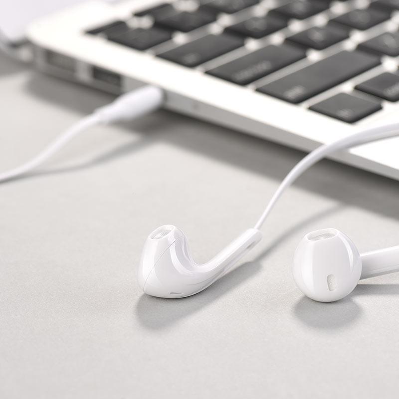 Tai nghe nhét tai Hoco M39 hỗ trợ jack tai nghe 3.5mm - Hàng chính hãng - Trắng