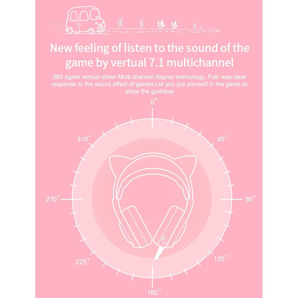 Tai nghe Gaming Somic G951 Pink tai mèo (Hồng) - USB Sound 7.1