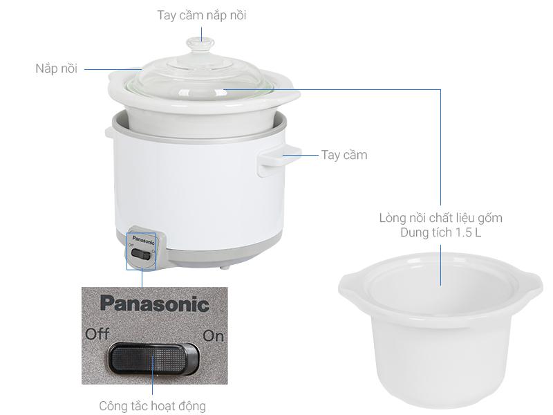 Nồi Nấu Chậm Panasonic 1.5 Lít NF-N15SRA - Hàng Chính Hãng