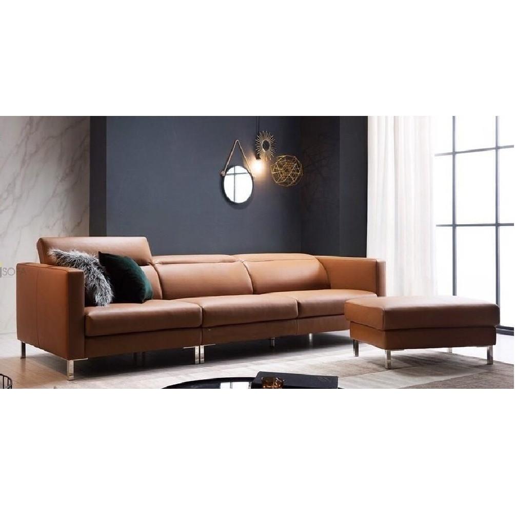 Sofa da phòng khách 2.5m, tựa cao