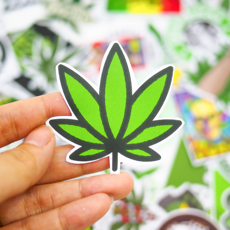 Set 100 sticker hình dán laptop mũ bảo hiểm xe máy xe hơi chủ đề - Weed