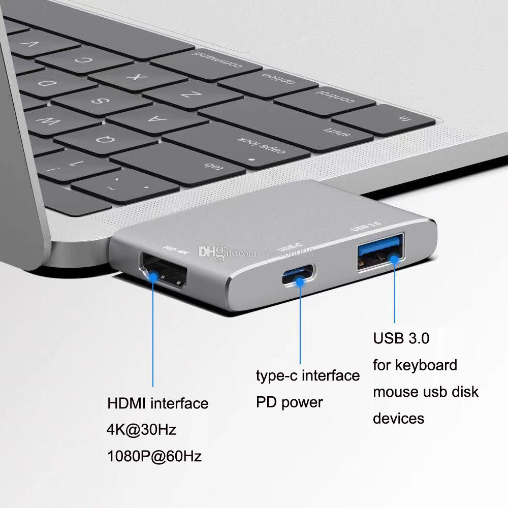 Bộ chia USB Type-C Rapoo 3-in-1 (ra HDMI - USB 3.0 - USB Type-C) XD20M - Hàng Chính Hãng