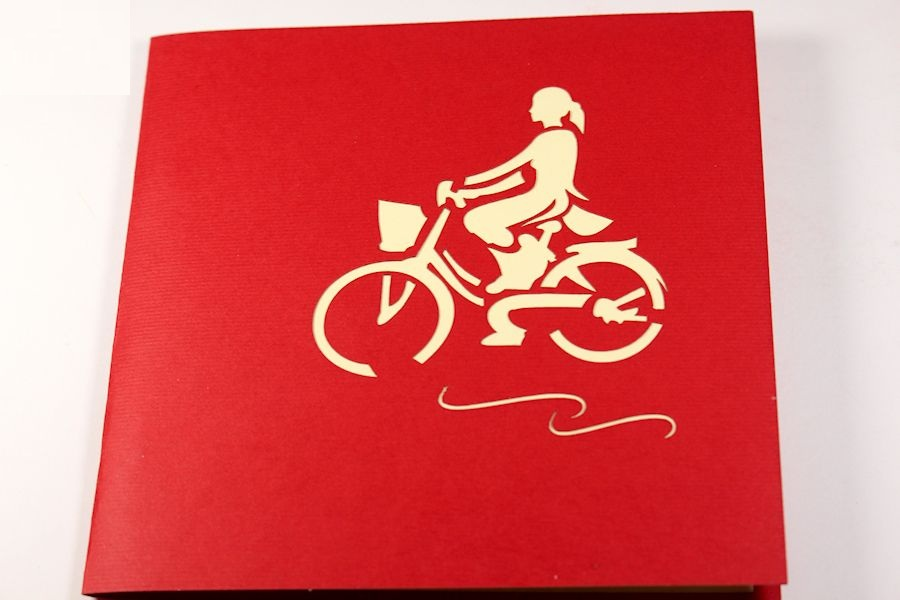 Thiệp 3D Việt Nam - Cô gái áo dài và xe đạp - NV16