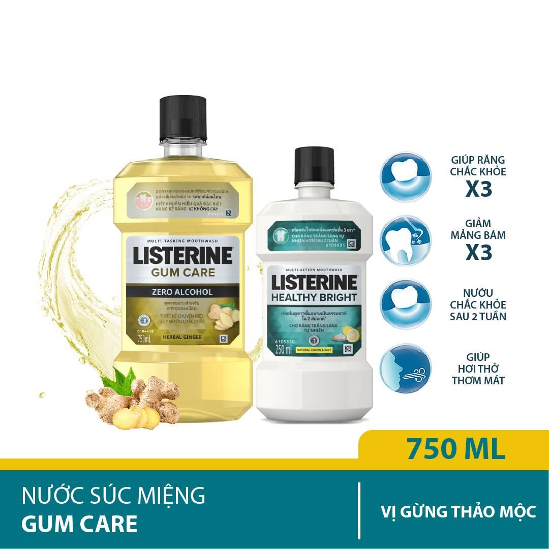 Nước súc miệng giúp nướu chắc khỏe Listerine Gum Care 750ml + Listerine Healthy Bright 250ml