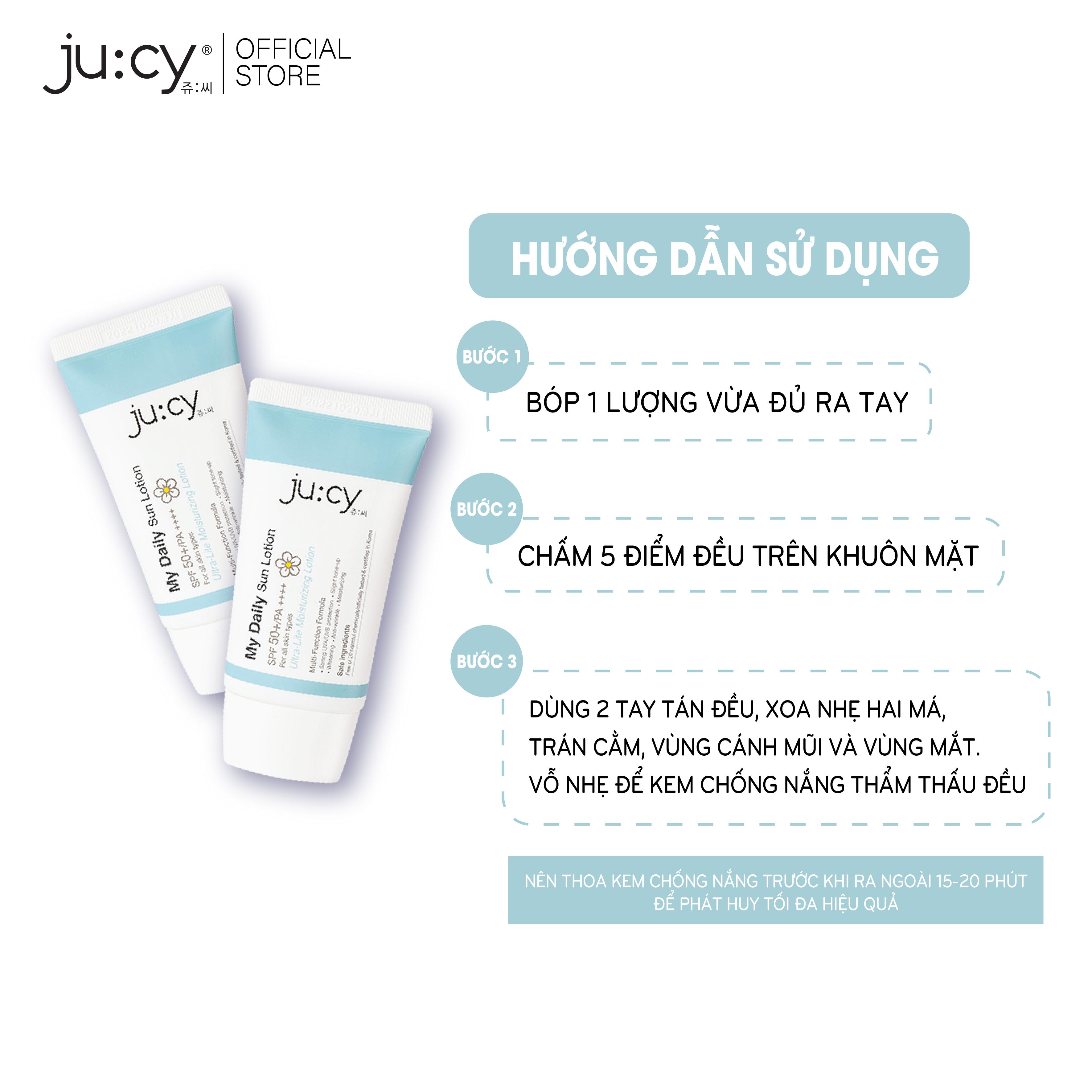 (Chuẩn Hãng) 2 Kem Chống Nắng Hàn Quốc dành cho da khô, da nhạy cảm Ju:cy My Daily Sunlotion 45ml