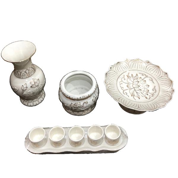 Combo Bộ (Bình Bông + Dĩa + Lư + Án)Bạch Ngọc để bàn thờ Thần Tài PT0186