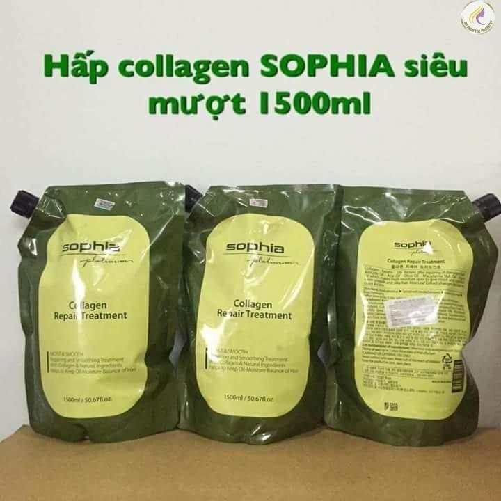 Kem hấp phục hồi tóc Sophia Platium Collagen Hair Repair Treatment Hàn Quốc 1500ml tặng kèm móc khoá
