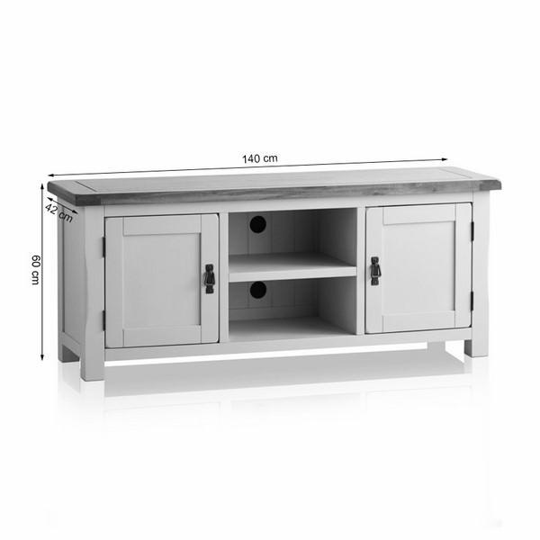 Tủ TV 2 Cánh Kemble Gỗ Sồi Ibie LV2KEMO - Trắng (140 x 42 cm)