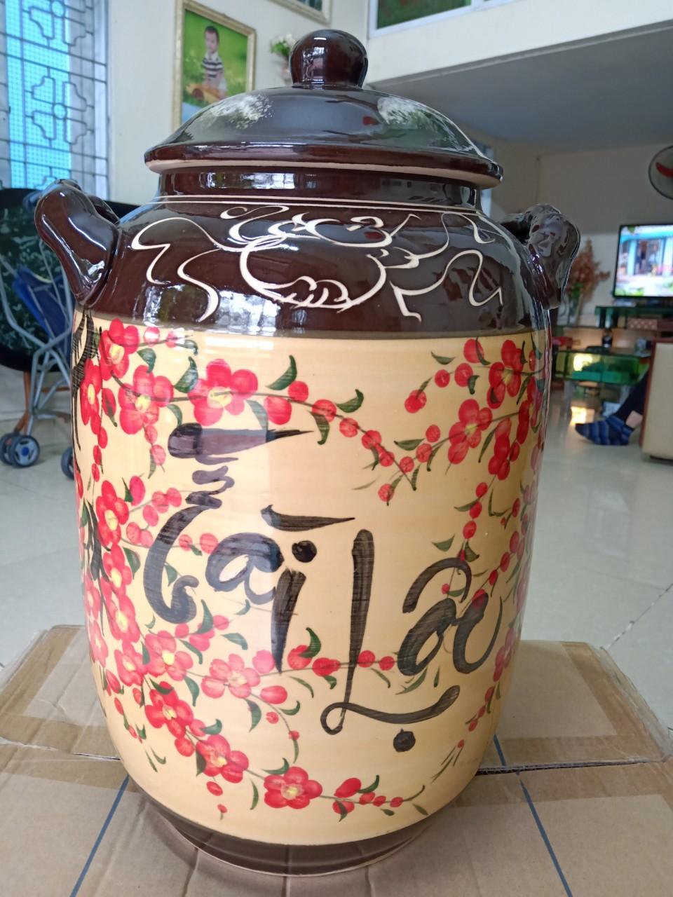 Hũ đựng rượu gạo gốm sứ Bát Tràng tài lộc hoa đào loại 15L
