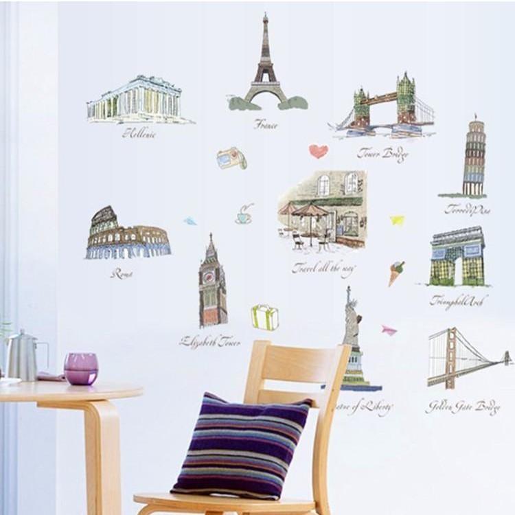 Decal dán tường cho bé cảnh địa danh nổi tiếng của các nước