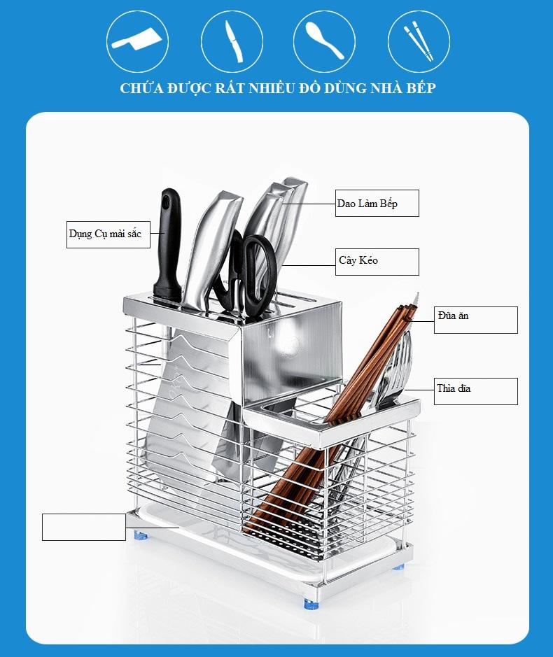 Kệ Để Dao Kéo Thìa Dĩa Nhà Bếp Kèm Ống Đũa Inox 304 Cao Cấp - Chống Gỉ Sét, Sáng Bóng, Sang Trọng