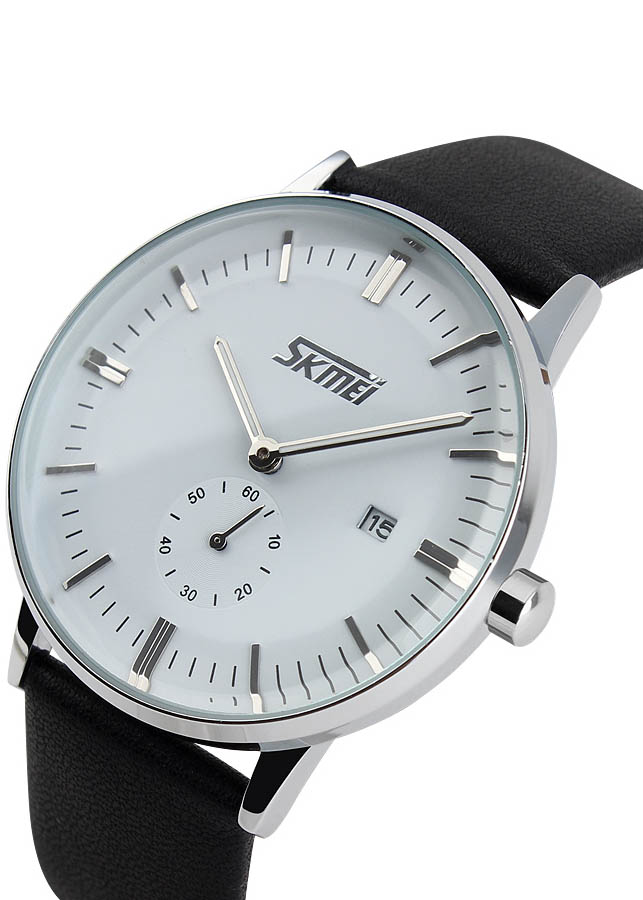 Đồng hồ nam Skmei dây da kim rốn thời trang trẻ trung JS-9083
