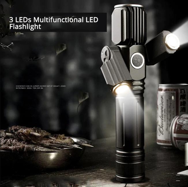 Đèn pin cầm tay chống trộm siêu sáng 3 đầu cao cấp