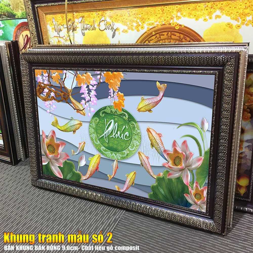 Tranh treo tường phòng khách, phòng ngủ Cửu ngư quần hội- Cá chép hoa sen chất liệu pvc gương / lụa kim sa. MS:2451L9
