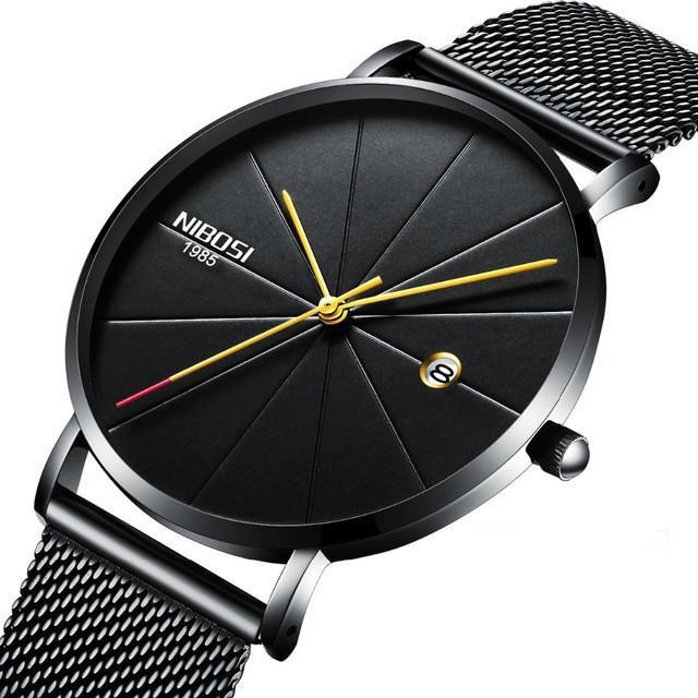 Đồng hồ thời trang công sở nam NIBOSI chính hãng NI2321 fullbox, chống nước - Mặt kính Mineral, day thép lưới cao cấp không gỉ
